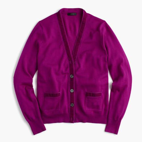 Harlow cardigan sweater with velvet trim