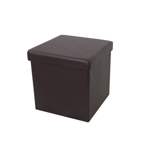 Urban Port Brown Faux Leather Foldable Storage Ottoman