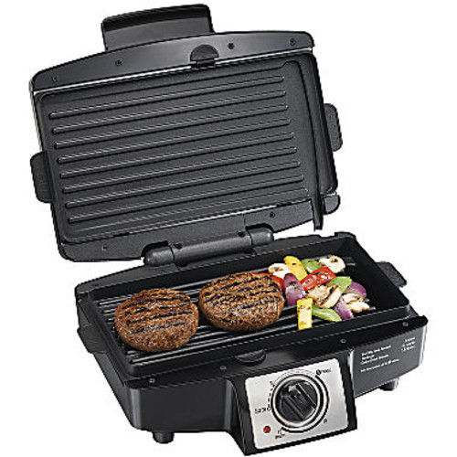 Hamilton Beach (25332) Electric Smokeless Indoor Grill with Non Stick Removable Plates, 110
