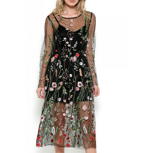 Bohemian Mesh Embroidered Dress