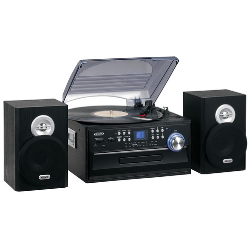 Jensen JTA475B 3-Speed Turntable with CD, AM/FM Stereo Radio, Cassette and Remote [Black]