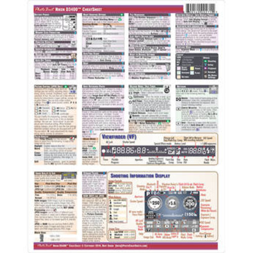 Cheat Sheet for Nikon D3400 DSLR Camera