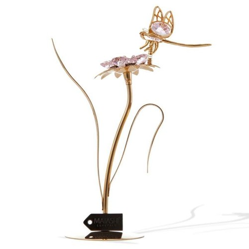24k Gold-plated Flower with Dragonfly and Matashi Crystals Ornament