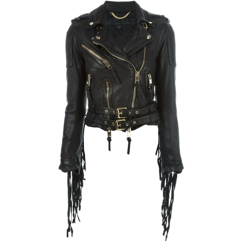 BURBERRY PRORSUM Fringed Biker Jacket