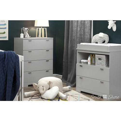 South Shore Reevo Changing Table with Storage - Soft Gray