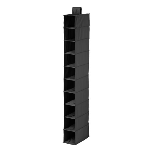 Honey-Can-Do SFT-01247 Hanging Shoe Organizer, Black, 10-Shelf [Black, Black]