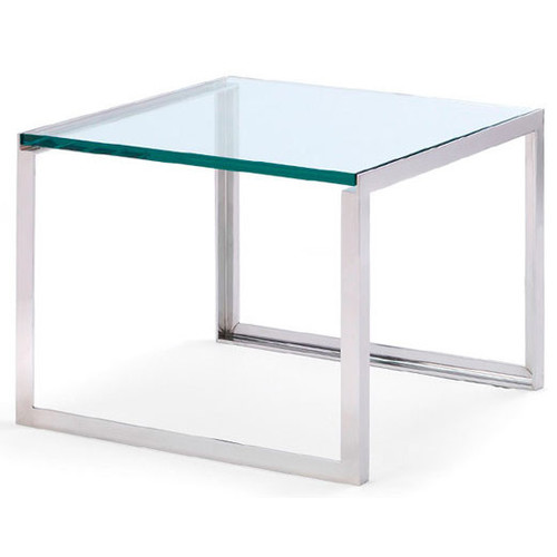 Shelton Mindel Side Table SM Tables [Finish : Stainless Steel; Top : Clear Glass]