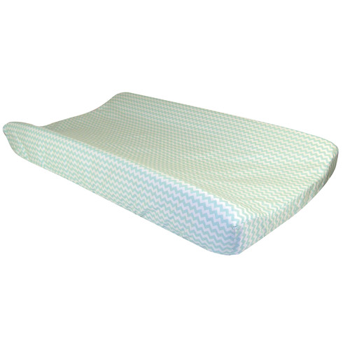 Trend Lab Changing Pad Cover - Mint Green And White Chevron