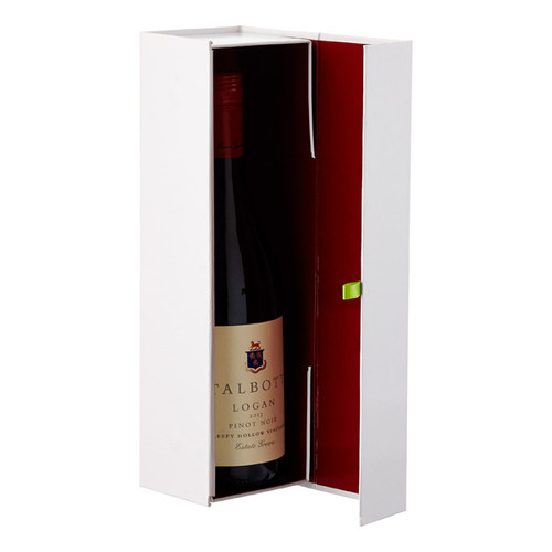 Glossy White Collapsible Wine Bottle Gift Box