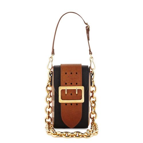 BURBERRY Belt Oblong House Check Shoulder Bag, Black