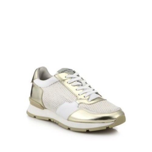 Metallic Leather & Mesh Sneakers