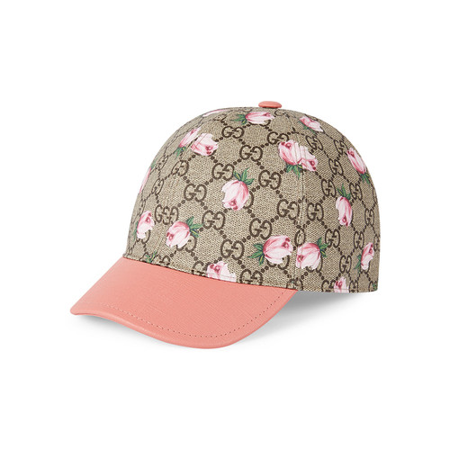 GUCCI Girls' Gg Rose Baseball Cap, Mahogany/Pink
