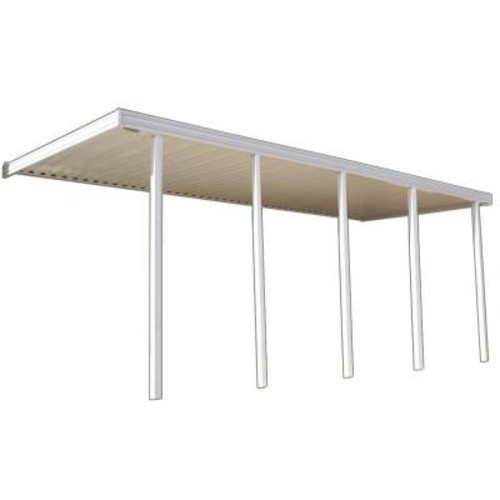Four Seasons Building Products 22 ft. x 10 ft. Ivory Aluminum Attached Solid Patio Cover with 5 Posts (20 lb. Live Load)