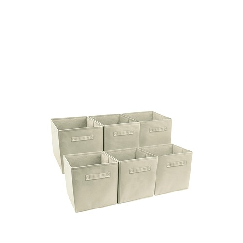 Foldable Storage Cube Basket Bin - Set of 6 - Beige