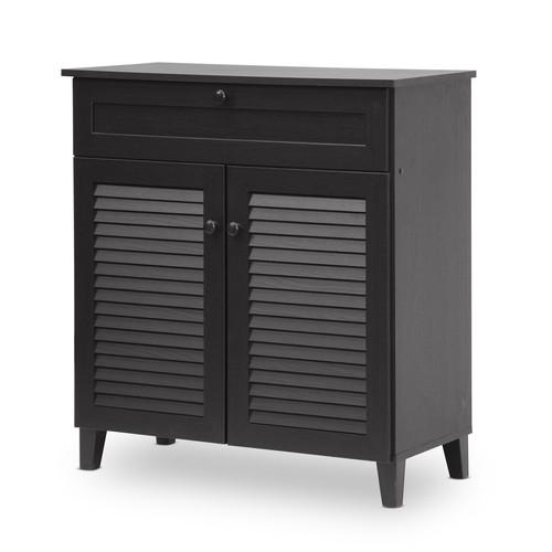 Baxton Studio Calvin Espresso Shoe-Storage Cabinet