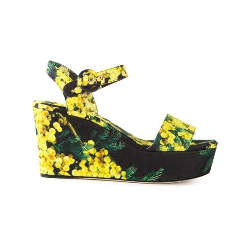 acacia print brocade wedge sandals