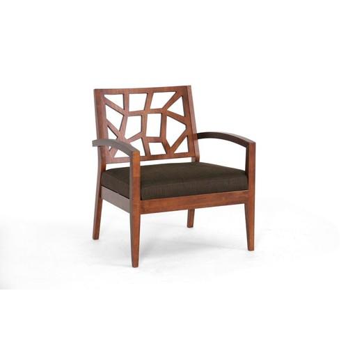 Baxton Studio Jennifer Wood Modern Lounge Chair with Fabric Seat, Dark Brown