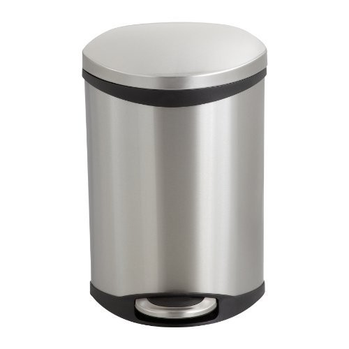 Safco Products 9901SS Ellipse Step-On Trash Can, 3-Gallon, Stainless Steel : Waste Bins : Office Products [Stainless Steel]