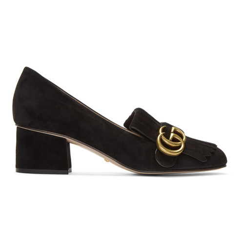 GUCCI Black Suede Gg Marmont Loafer Heels