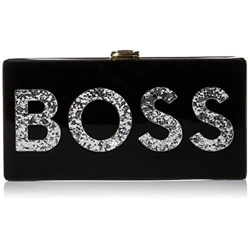 MILLY Boss Box Clutch [Black/Silver]