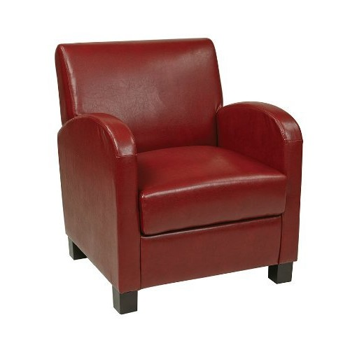 Office Star Metro Faux Leather Club Chair with Espresso Finish Legs, Crimson Red [red]