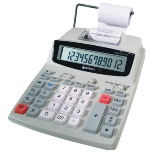 Datexx 12 Digit 2-Color Business Printing Calculator with Calendar Profit Manager/Tax - Gray (DP-32AD)
