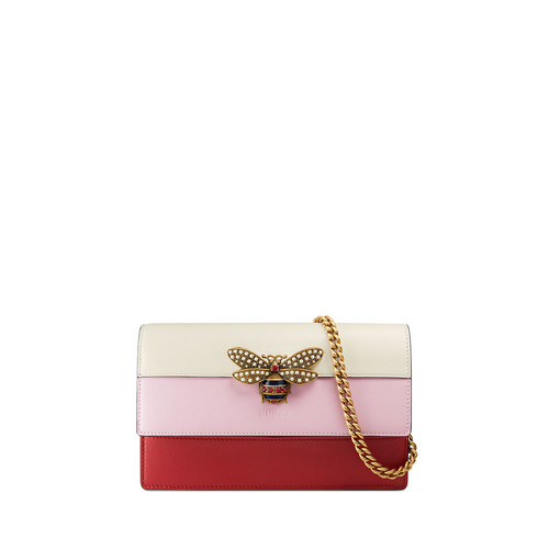 GUCCI Fly Ladies Colorblock Wallet On A Chain