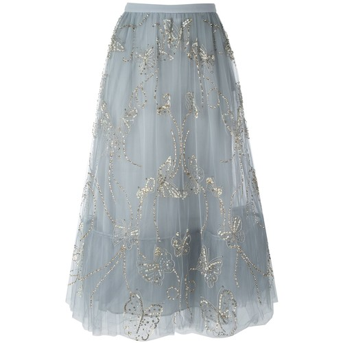 VALENTINO Butterfly Embroidered Tulle Skirt