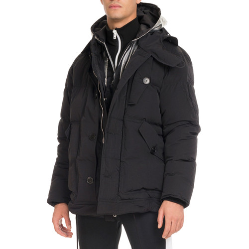 GIVENCHY Down Coat With Logo Hood, Black
