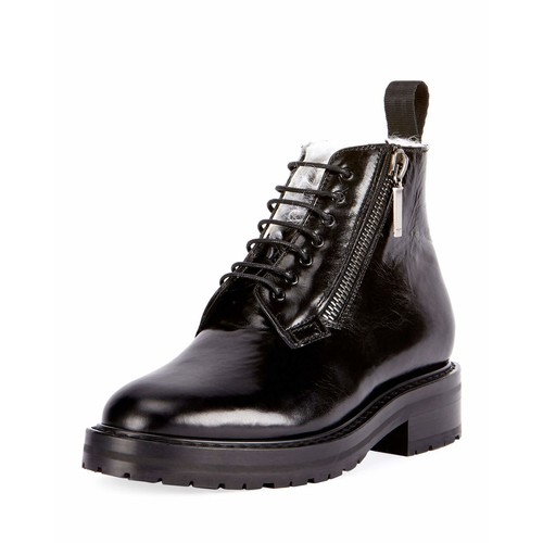 SAINT LAURENT Shearling-Lined Patent Ankle Boot