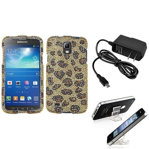 INSTEN Camel Leopard Diamond Case+LCD+Charger+Holder For Samsung Galaxy S4 Active i537