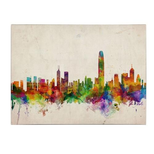 Trademark Fine Art Michael Tompsett 'Hong Kong Skyline' Canvas Art 16x24 Inches