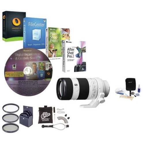 Sony 70-200mm f/4.0 G OSS E-Mount NEX Camera Lens with Accessory Bundle SEL70200G NK