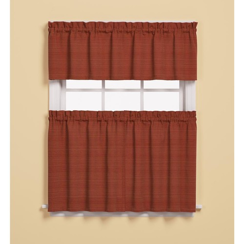 Saturday Knight Semi-Opaque Austin 36 in. L Polyester/Cotton Tier Curtain in Fire (2-Pack)