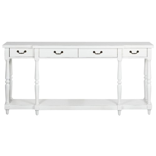 Home Decorators Collection Mitchell Rubbed White Storage Console Table