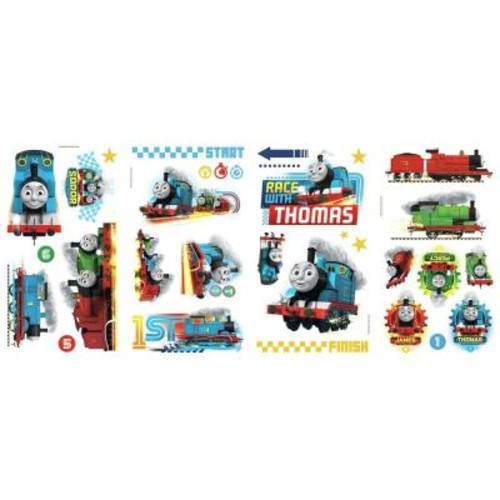 RoomMates 5 in. x 11.5 in. Thomas and Friends Racing 30-Piece Peel and Stick Wall Decal