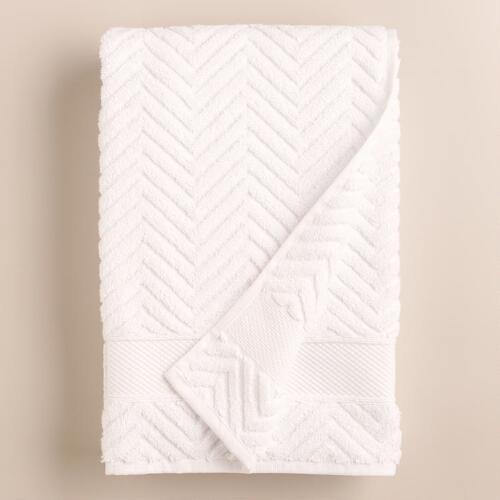White Chevron Spa Bath Towel