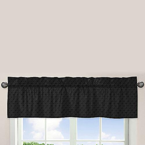Sweet Jojo Designs Minky Dot Window Valance in Black