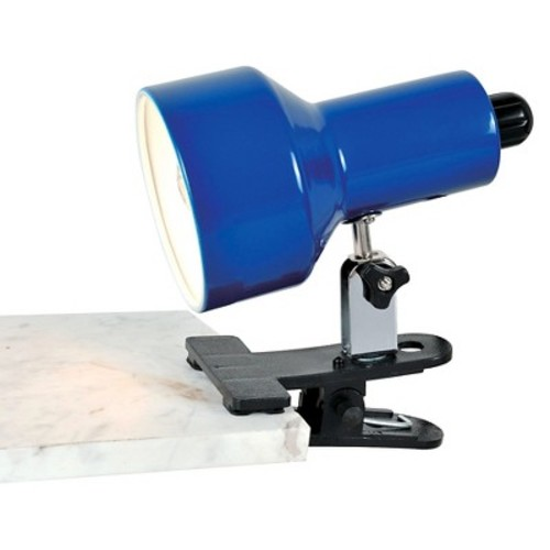 Lite Source Clip-On II 1 Light Table Lamp with Blue Shade - Black