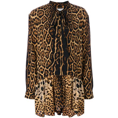SAINT LAURENT Leopard Print Neck Tie Dress