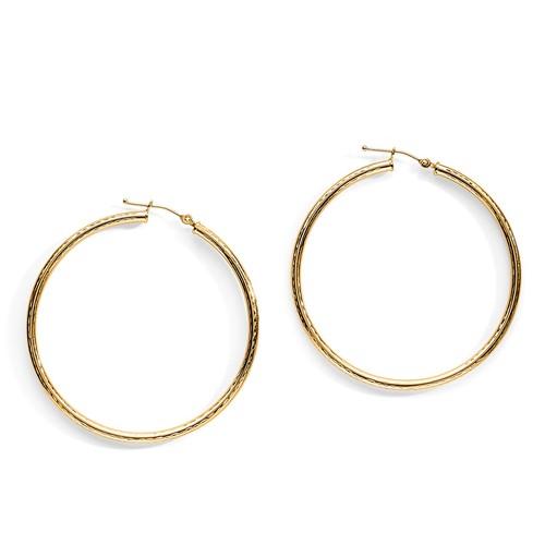 10K Yellow Gold Filigree Hoop Earrings