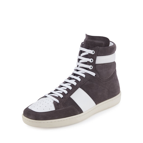 SAINT LAURENT Colorblock Suede High-Top Sneaker, Gray/White