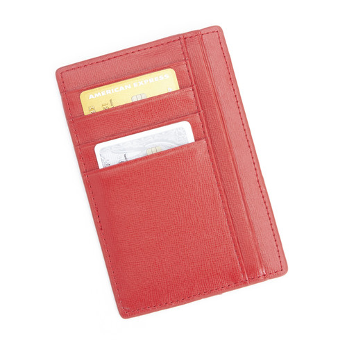 Royce Leather RFID Blocking Slim Red Saffiano Genuine Leather Travel Passport Wallet