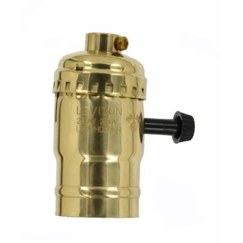 Leviton 7090-BR Medium Base Complete, Brass Shell Incandescent Lampholder, Removeable Turn Knob, Brass