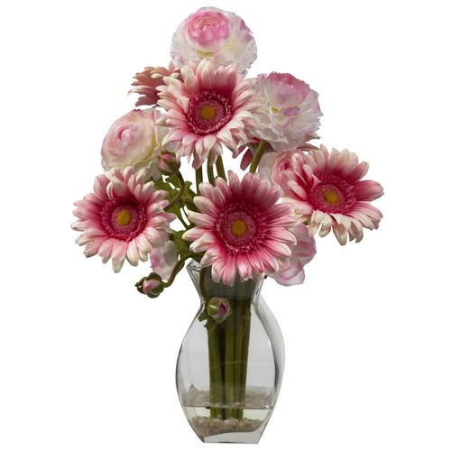 Nearly Natural 15-in Pink Silk Arrangement