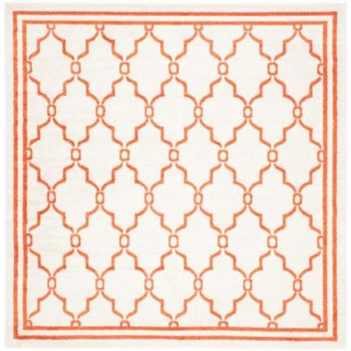 Safavieh Amherst Beige/Orange 7 ft. x 7 ft. Indoor/Outdoor Square Area Rug