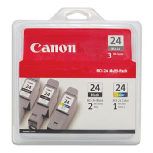 Canon BCI-24 2 Black/Color Ink Cartridges (6881A039), Pack Of 3