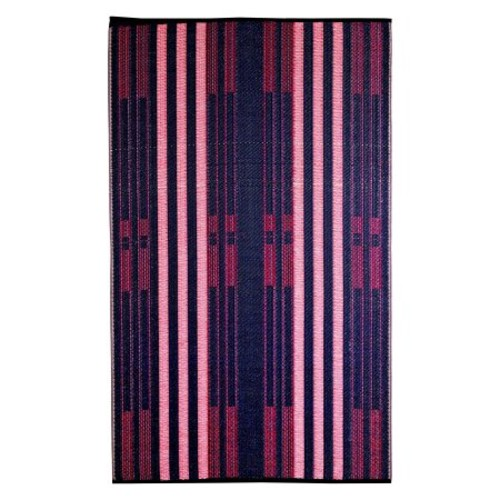b.b.begonia Brick Lane Stripe Contemporary Reversible Design 6' x 9' Blue and Red Rectangle Outdoor Rug Mat Polypropylene for Camping, Patio, Deck, Pool Area, Yard, Picnic [Brick Lane, 6-Feet by 9-Feet]
