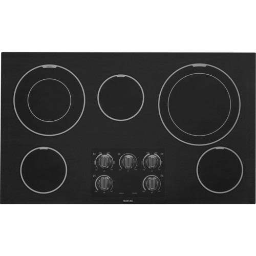 Black Maytag 36-Inch Electric Cooktop with Two Dual-Choice E...