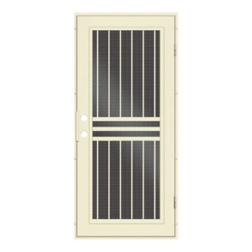 Unique Home Designs 32 in. x 80 in. Plain Bar Beige Hammer Right-Hand Surface Mount Aluminum Security Door / Black Perforated Metal Screen